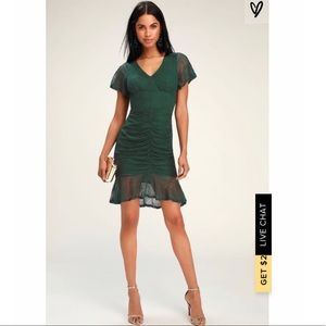 Lulu's Forest Green Lace Ruched Dress